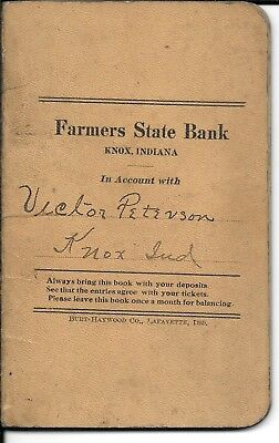 Bank Book-Farmers State Bank-Knox,Indiana & Military letter from Camp Jackson,SC