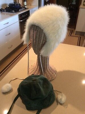 Two Vintage Childrens Hats Faux Fur And Cord
