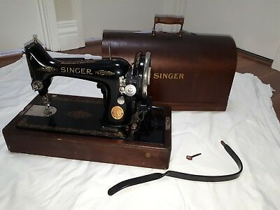 ANTIQUE SINGER SEWING MACHINE, excellent condition, working, with base & case.