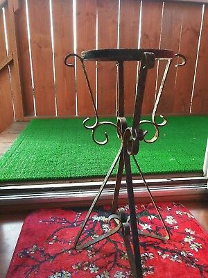 Antique Vintage Wrought Iron Plant Stand 22 1/2 inches tall