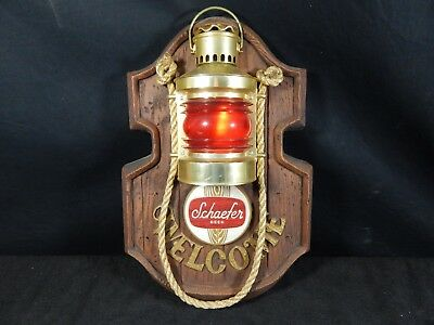 Vintage Schaefer Beer Nautical Welcome Lighted Bar Sign 13X20X4.5