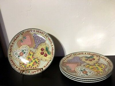 Set of 4 Mary Engelbreit Have A Heart Valentine Cookie Enesco Plates 2001