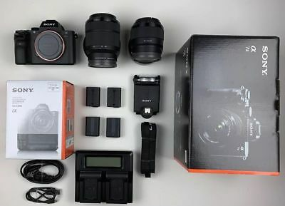 Sony Alpha a7 II 24MP Camera with 28-70mm Lens, 50mm Lens, Battery Grip, Flash