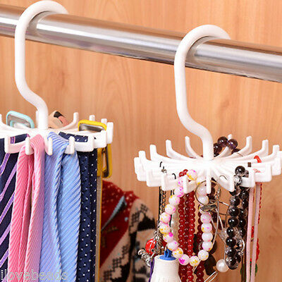 White 360 Rotation Belts Rack Adjustable Ties Hanger 20 Hooks Organizer