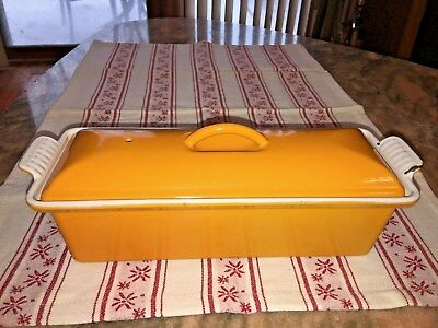 Le Creuset Terrine Rectangular Dish Vintage Yellow #28 Used France