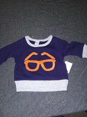 baby gap 3-6 mos sweat shirt glasses (A15)