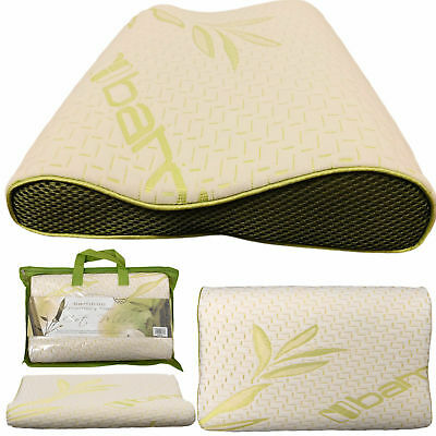 2X Bamboo Contour Memory Foam Cot Pillow 40cmX25cm Soft Comfy Baby Toddler Kids