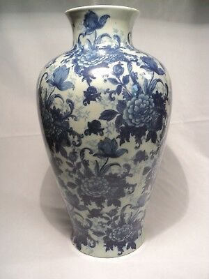 Grand Vase Porcelaine Chine Celadon  Décor Fleurs Chinese Ceramic