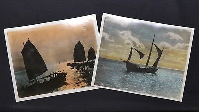 2 x RARE Hand-Colored 8x10 Photographs Hong Kong China Junk Ships circa 1930