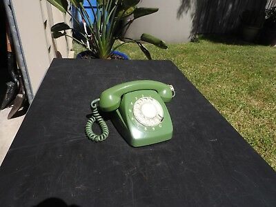Vintage Original 1960's, 70's Green Rotary Dial Phone