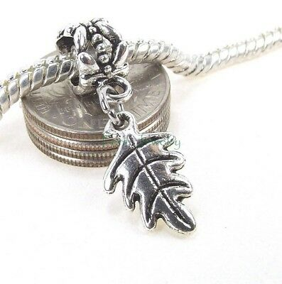 Tiny Leaf Dangle Silver Tone Add a Bead Slider for European Charm Bracelet