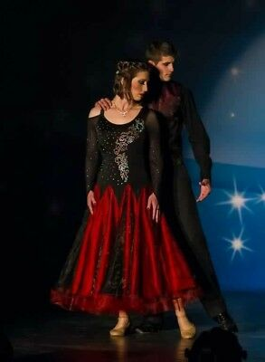 Red/black Ballroom Dance Gown- Fits Size 6-10