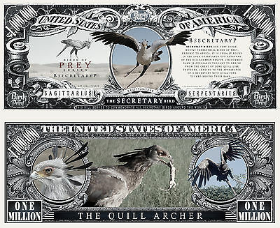 Secretary Bird of Prey Million Dollar Bill Funny Money Novelty Note +FREE SLEEVE
