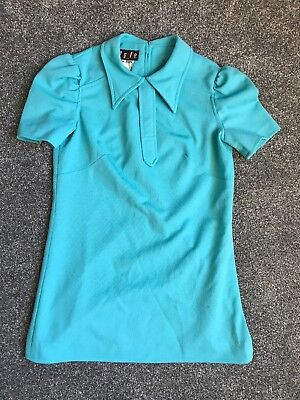 Vintage 1960s Turquoise Dress Polyester Dress Size 12  Pigalle Brand, England