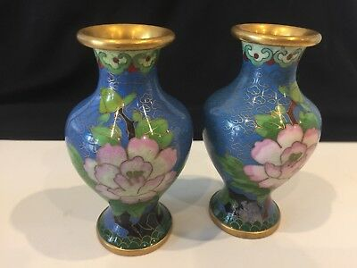 Vintage Antique Asian Chinese Cloisonne Two Vases