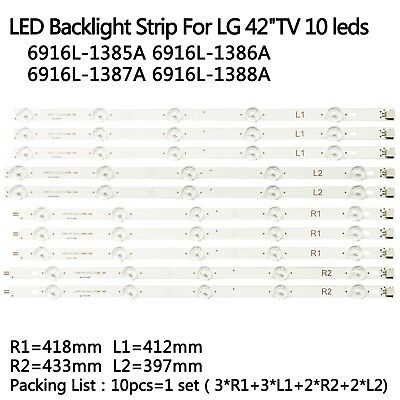 """TV LED Backlight strip For LG 42"""" Row2.1 42LN5400 42LN5300 LC420DUE 6916L-1385A"""