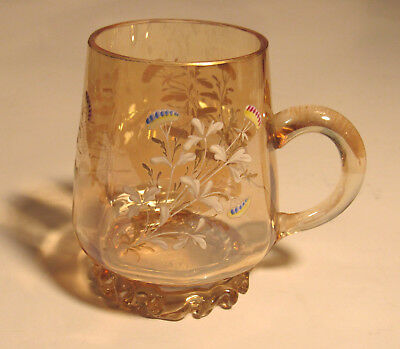 Beautiful Amber Blown Glass Cup Hand Painted Excellent Condition