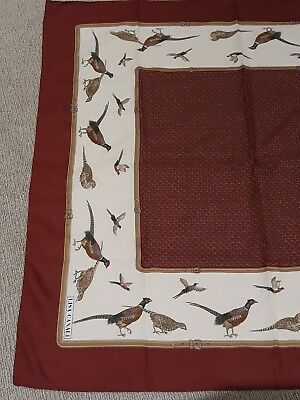 Vintage Lisa Canali Polyester Square Scarf Pheasant Design Maroon Cream Tan