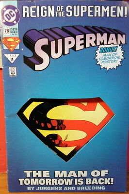 DC - SUPERMAN REIGN OF THE SUPERMEN JUNE 1993 #14 w/poster Cut Out Cover