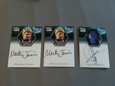 Dr Who Signed Trading Cards. 2x Martin Jarvis as The Governor, 1 Yee Jee Tso as