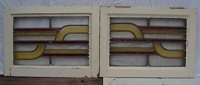 2 art deco British leaded light stained glass window panels. R848a.