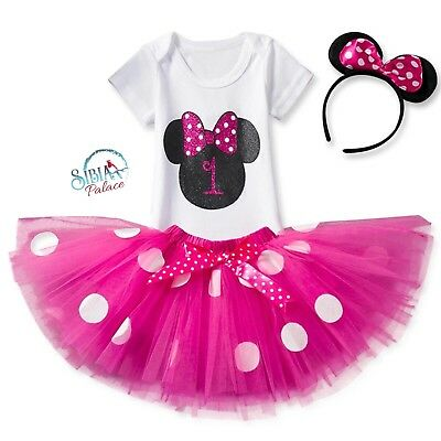 Baby Girl 1st Birthday Dress Cake Smash Pink Photoshoot Outfit Tutu Minnie Mouse