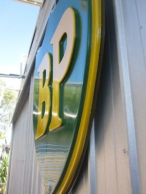 HUGE BP Petrol Oil Sign  EMBOSSED bar garage gasoline Bowser
