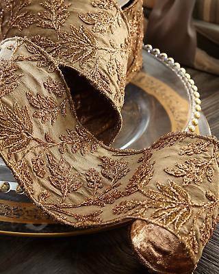 D. Stevens Taffeta Metallic Floral Embroidery Holiday Ribbon - 5 Yards Long