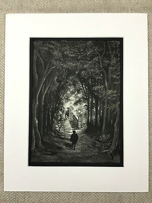 Fairy Realm Enchanted Forest Woodland Gustave Dore Engraving Antique Print