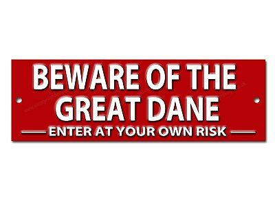 Beware Of The Great Dane Enter At Your Own Risk Metal Sign.dog Warning Sign.