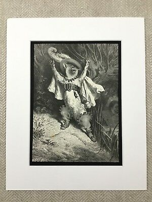 Puss in Boots Cat Fairy Realm Gustave Dore Engraving Genuine Antique Print