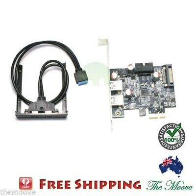 PCI Express PCI-E Card 2 Port Hub Adapter + USB 3.0 Front Panel 5Gbps Hi-Speed