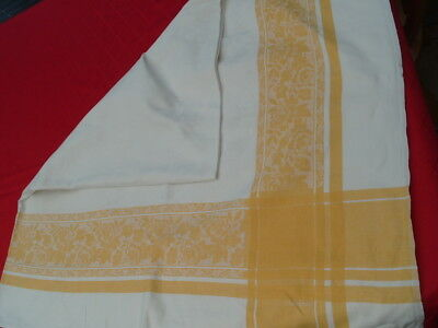 VINTAGE 60s DAMASK PATTERN YELLOW TABLE CLOTH