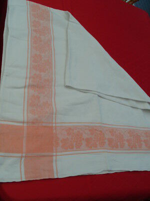 VINTAGE 60s DAMASK PATTERN ORANGE TABLE CLOTH