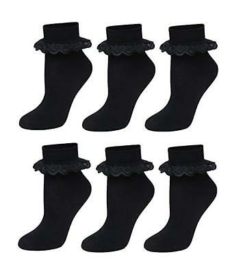 6 pairs Girls Women School Colourful Frilly Lace Ankle Socks in 3 Colours UK 4-7
