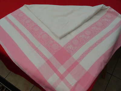 VINTAGE 60s DAMASK PATTERN PINK TABLE CLOTH