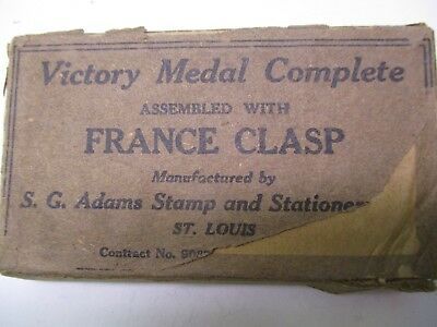 US WWI Box for Victory Medal Complete Assembled with France Clasp By S.G. Adams