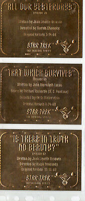 Star Trek TOS Season 3 - Lot Of 3 Gold Plaque chase cards EX Skybox 1999