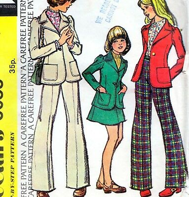 Vintage 70s GIRLS TROUSER SUIT Jacket SKIRT Pants Sewing Pattern Size 8 RETRO