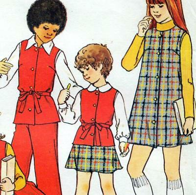 EASY Vintage 70s GIRLS PINAFORE DRESS Skirt PANTS Sewing Pattern UNCUT Chest 30""