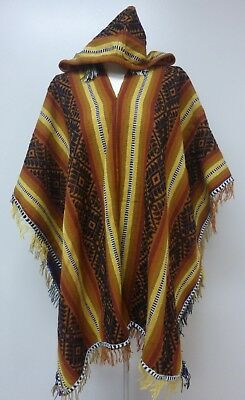 Shamans Hooded Black and Brown Poncho- Andean Mountain Textile