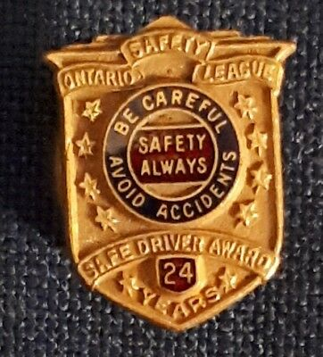 "Vintage Canadian""ontario Safety League 24 Years Safe Driver Award"" Screwback Pin"