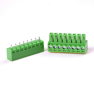 5PCS 3.81mm 8-Pin Plug-in Screw Terminal Block Connector Panel PCB Mount BHQ
