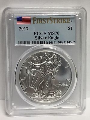 2017 ~ Silver American Eagle PCGS MS 70 - FIRST STRIKE FLAG LABEL  Highest Grade