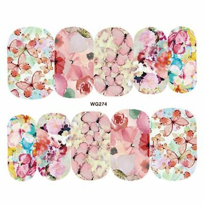 Nail Art Water Decals Stickers Transfers Pretty Pink Flowers Butterfly (WG274)