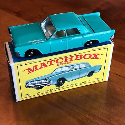 Vintage Lesney Matchbox 1960's Lincoln Continental No 31 Original New in the Box
