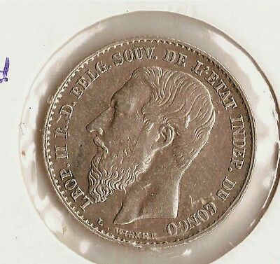 Congo Free State  Very Rare 50 Centimes 1896 Km 5 High Graded !!!