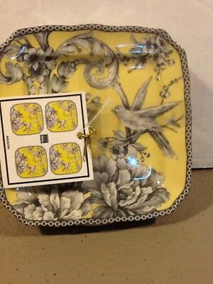 222Fifth Adelaide YelloBird New Square Set Of 4 Appetizer/ Dessert/ Bread Plates