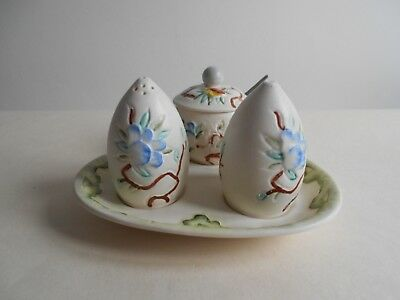 H J Wood Chinese Rose 4 Piece Cruet Set