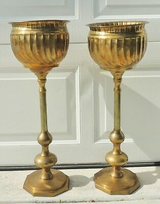 "Pair Antique/Vtg 25"" Tall Heavy Solid Brass Ribbed Pedestal Planter Pots #5330"